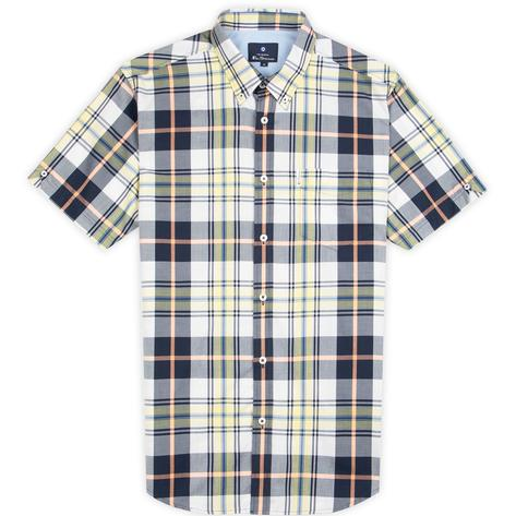 Ben Sherman Short Sleeve Large Check Shirt Navy And Yellow Thumbnail 2