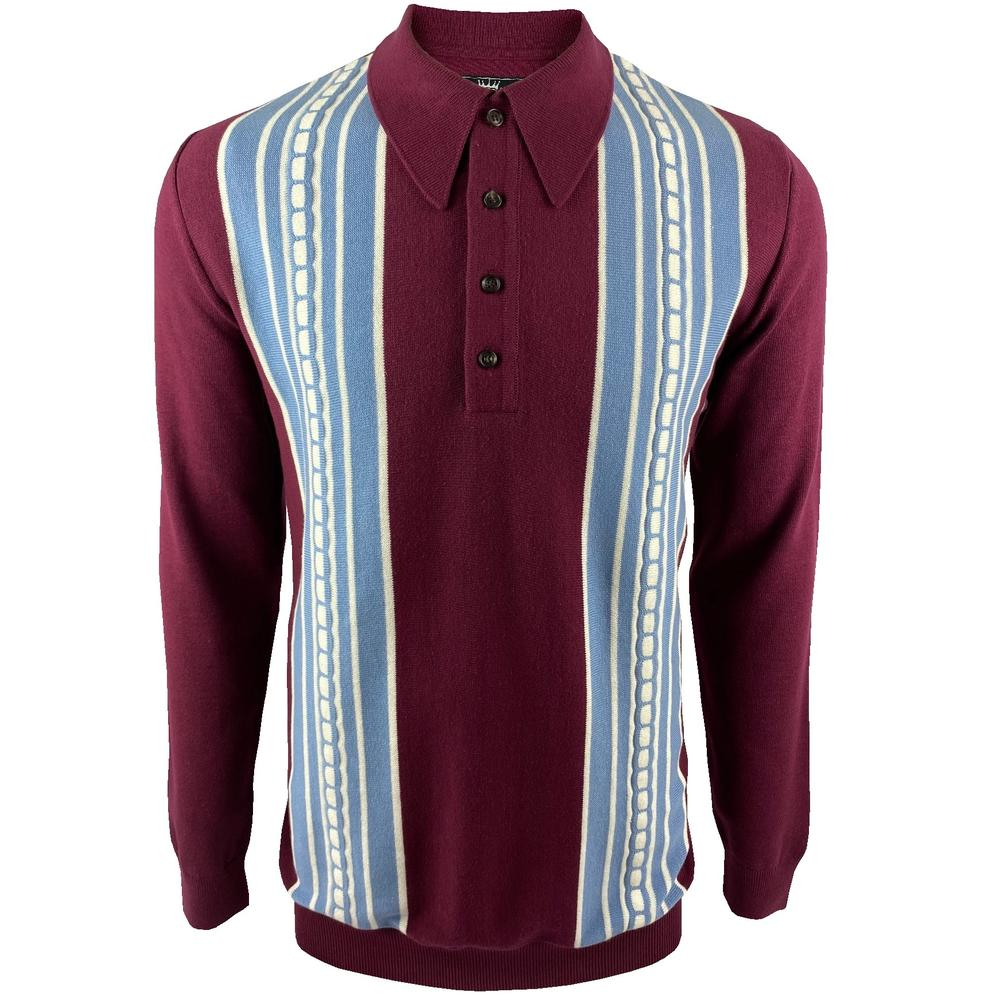 Trojan Records Spearpoint Long Sleeve Cable Knit Polo Port
