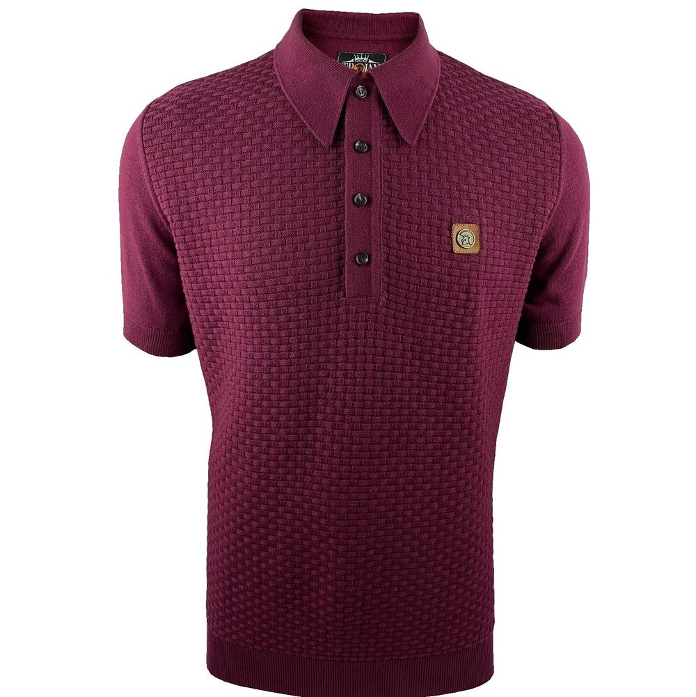 Trojan Records Weave Effect Knit Panel Polo Port