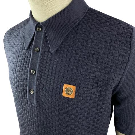 Trojan Records Weave Effect Knit Panel Polo Navy Thumbnail 3
