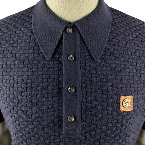 Trojan Records Weave Effect Knit Panel Polo Navy Thumbnail 2