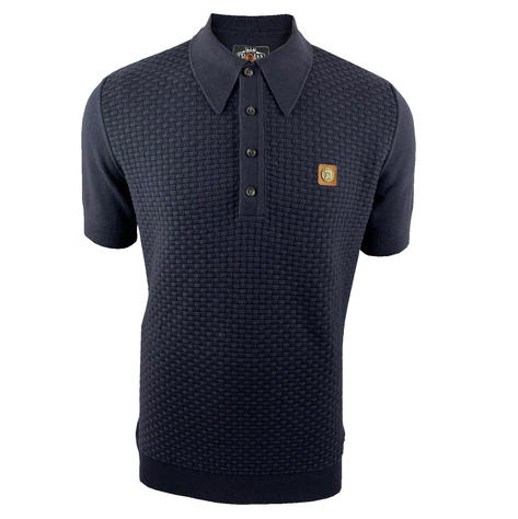 Trojan Records Weave Effect Knit Panel Polo Navy Thumbnail 1