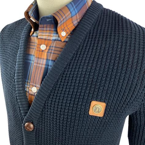 Trojan Records Waffle Knit Football Buttons Cardigan Navy Thumbnail 3