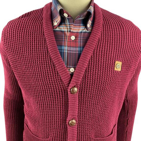 Trojan Records Waffle Knit Football Buttons Cardigan Port Thumbnail 2