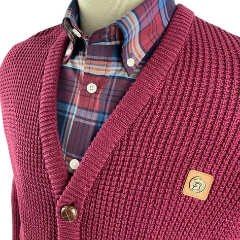 Trojan Records Waffle Knit Football Buttons Cardigan Port Thumbnail 3