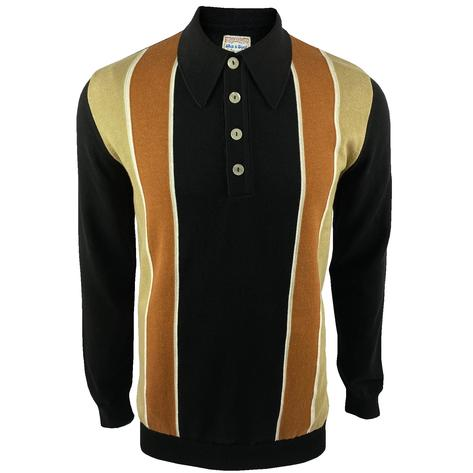 Ska & Soul Block Stripe Knit Long Sleeve Spearpoint Polo Black