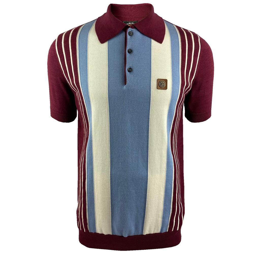 Trojan Records Multi Stripe Short Sleeve Fine Knit Polo Port