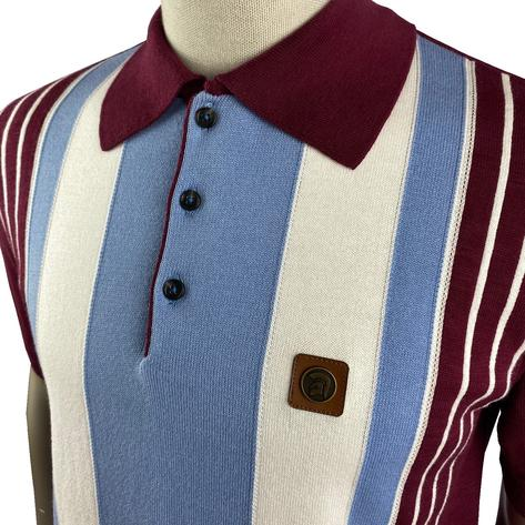 Trojan Records Multi Stripe Short Sleeve Fine Knit Polo Port Thumbnail 2