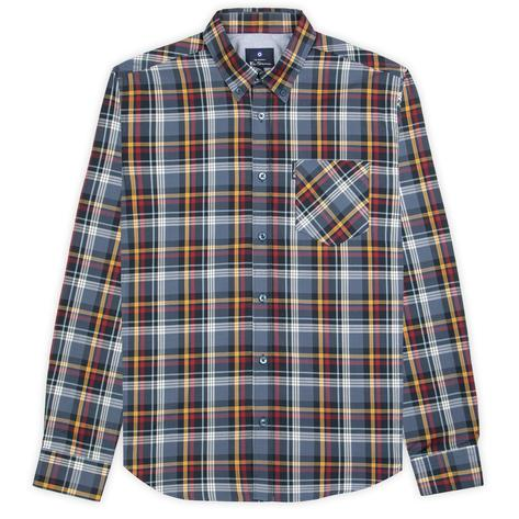 Ben Sherman Long Sleeve Check Shirt Navy Mustard and Red Thumbnail 2