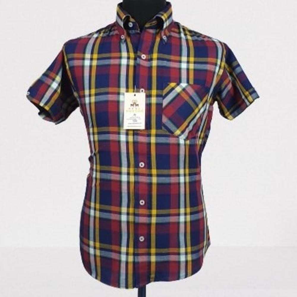 Real Hoxton Navy and Yellow Short Sleeve Shirt