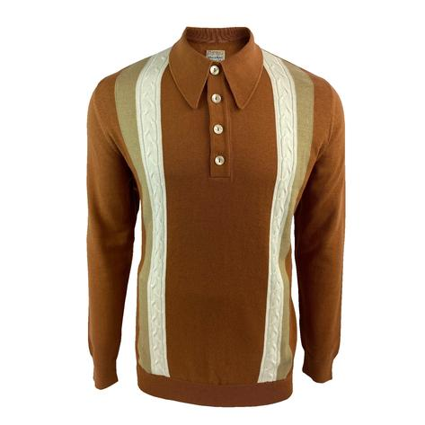 Ska & Soul Cable Stripe Knit Long Sleeve Spearpoint Polo Ginger