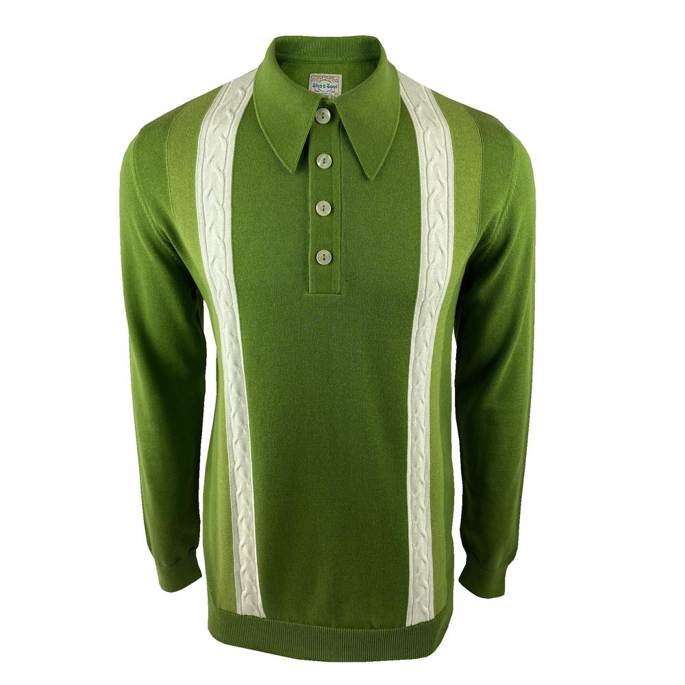 Ska & Soul Cable Stripe Knit Long Sleeve Spearpoint Polo Green