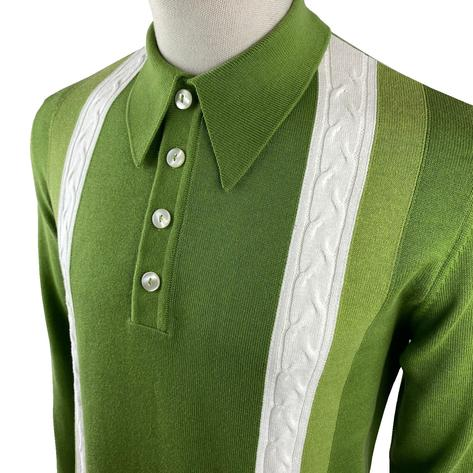 Ska & Soul Cable Stripe Knit Long Sleeve Spearpoint Polo Green Thumbnail 2