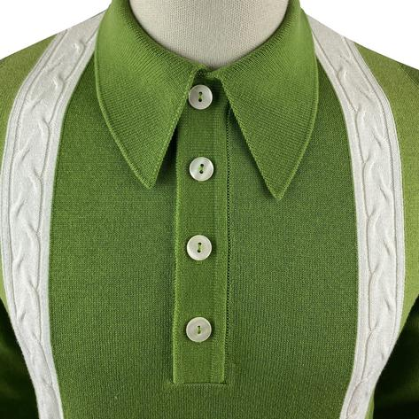 Ska & Soul Cable Stripe Knit Long Sleeve Spearpoint Polo Green Thumbnail 3
