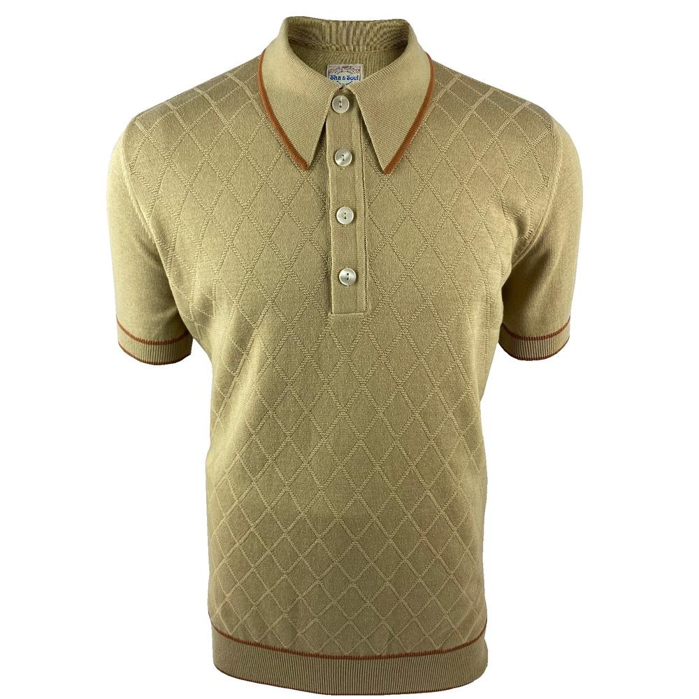 Ska & Soul Short Sleeve Spearpoint Diamond Panel Polo Sand
