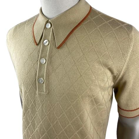 Ska & Soul Short Sleeve Spearpoint Diamond Panel Polo Sand Thumbnail 2