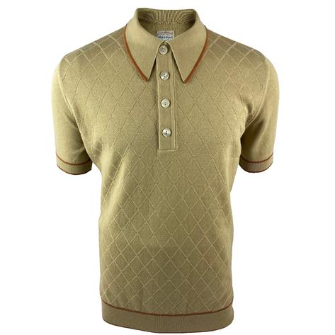 Ska & Soul Short Sleeve Spearpoint Diamond Panel Polo Sand Thumbnail 1