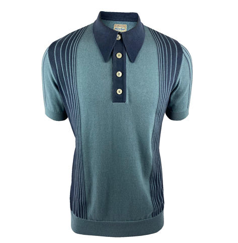 Ska & Soul Short Sleeve Spearpoint Tonal Stripes Polo Denim