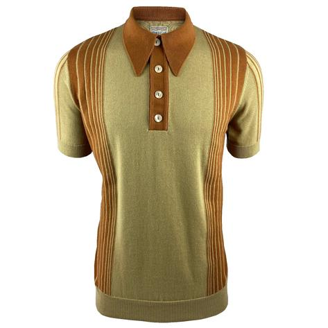 Ska & Soul Short Sleeve Spearpoint Tonal Stripes Polo Sand