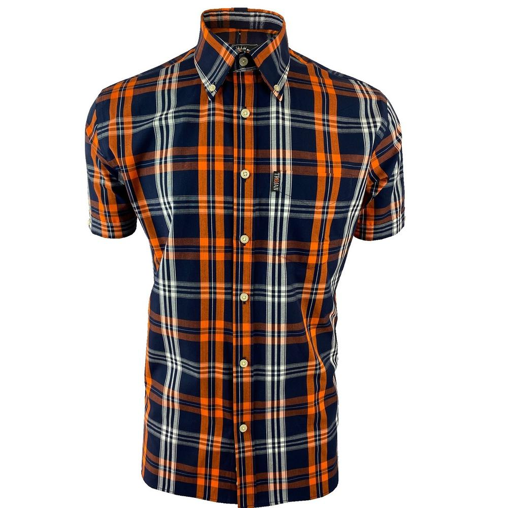 Trojan Records Check Shirt With Pocket Square Navy and Orange