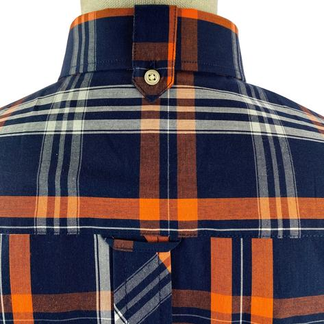 Trojan Records Check Shirt With Pocket Square Navy and Orange Thumbnail 4