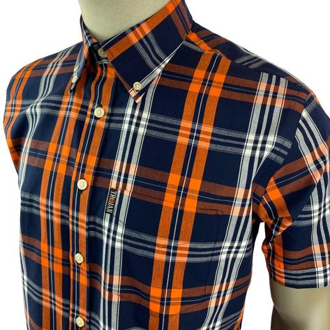 Trojan Records Check Shirt With Pocket Square Navy and Orange Thumbnail 2
