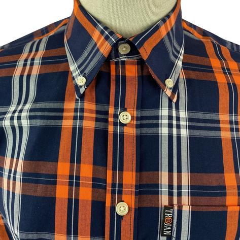 Trojan Records Check Shirt With Pocket Square Navy and Orange Thumbnail 3