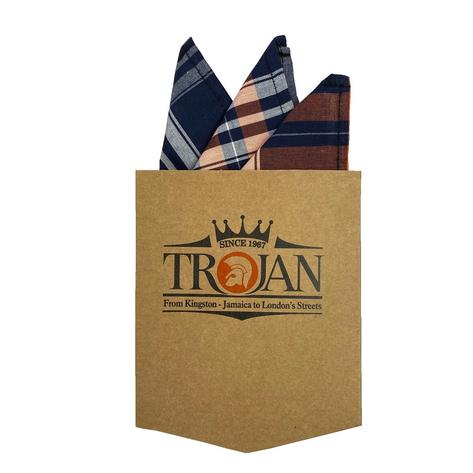 Trojan Records Check Shirt With Pocket Square Navy and Orange Thumbnail 5