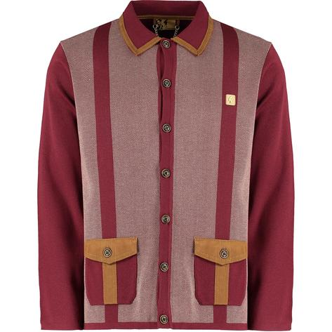 "Gabicci Vintage x Gregory Isaacs ""Suede"" Trim Cardigan Wine Thumbnail 1"