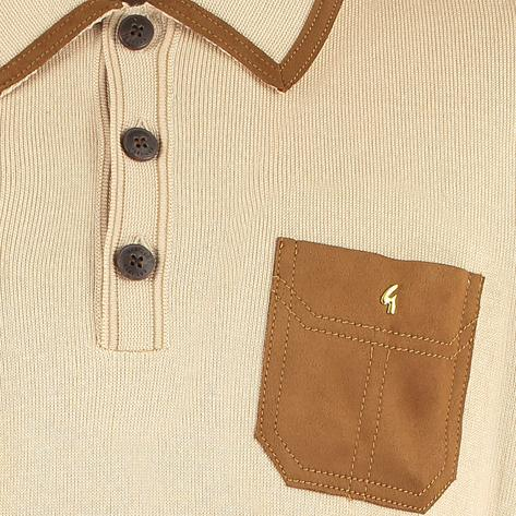 "Gabicci Vintage x Gregory Isaacs ""Suede"" Trim Polo Stone Thumbnail 2"