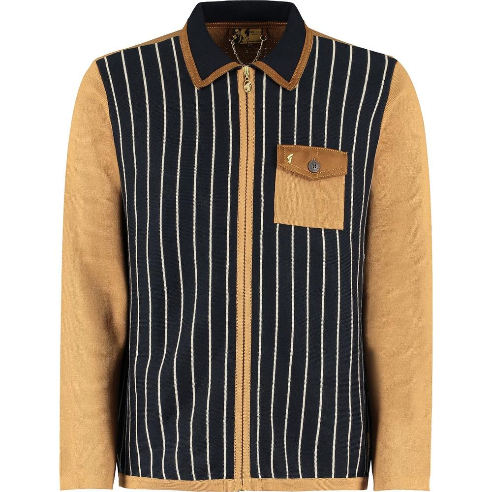 Gabicci Vintage x Gregory Isaacs Zip Through Cardigan Tan