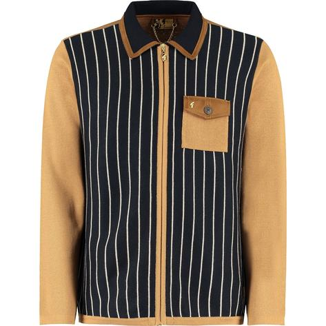 Gabicci Vintage x Gregory Isaacs Zip Through Cardigan Tan Thumbnail 1