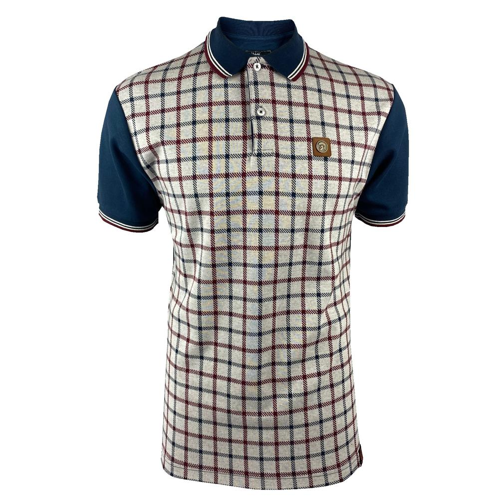 Trojan Records Large Check Panel Polo Navy