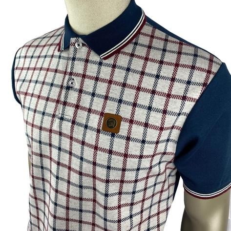 Trojan Records Large Check Panel Polo Navy Thumbnail 2