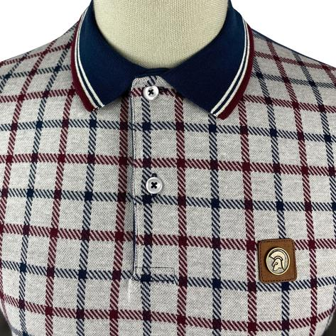 Trojan Records Large Check Panel Polo Navy Thumbnail 3
