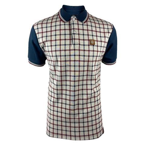 Trojan Records Large Check Panel Polo Navy Thumbnail 1