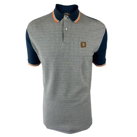 Trojan Records Houndstooth Panel Polo Navy Thumbnail 1