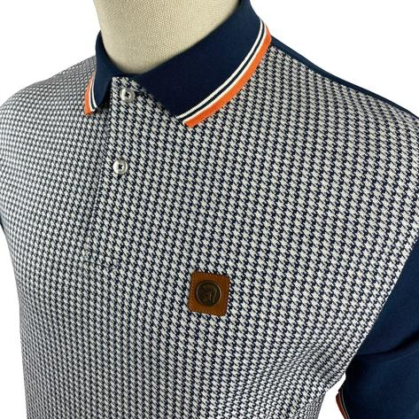 Trojan Records Houndstooth Panel Polo Navy Thumbnail 2