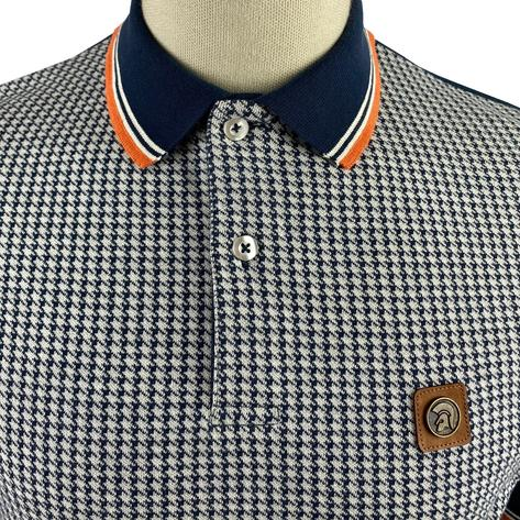 Trojan Records Houndstooth Panel Polo Navy Thumbnail 3