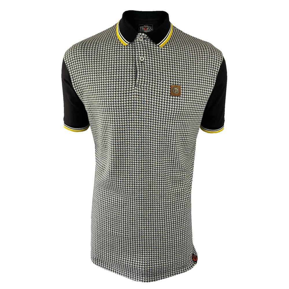 Trojan Records Houndstooth Panel Polo Black