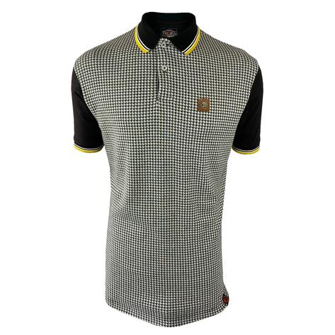 Trojan Records Houndstooth Panel Polo Black Thumbnail 1