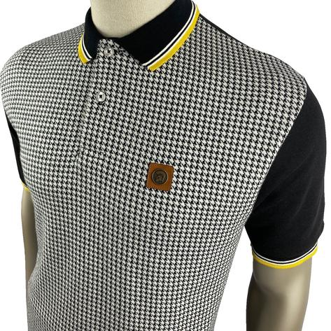 Trojan Records Houndstooth Panel Polo Black Thumbnail 2