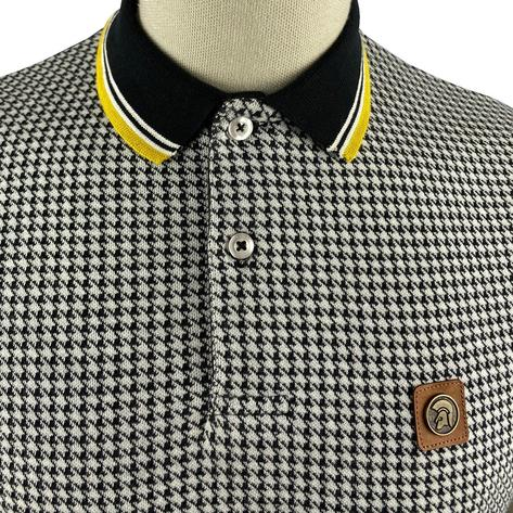 Trojan Records Houndstooth Panel Polo Black Thumbnail 3