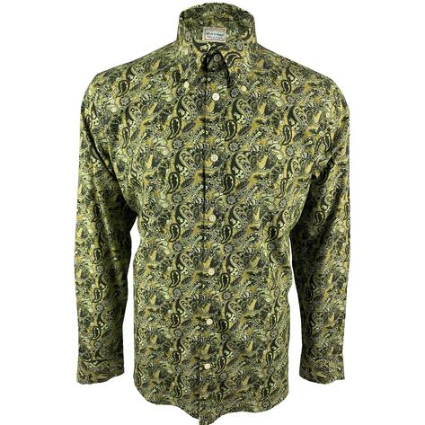 Ska & Soul Paisley Print Spearpoint Collar Shirt Green