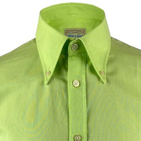 Ska & Soul Cotton Oxford Spearpoint Collar Shirt Lime Thumbnail 2