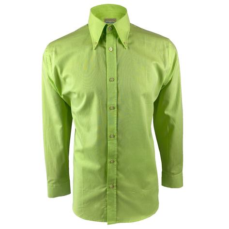 Ska & Soul Cotton Oxford Spearpoint Collar Shirt Lime Thumbnail 1