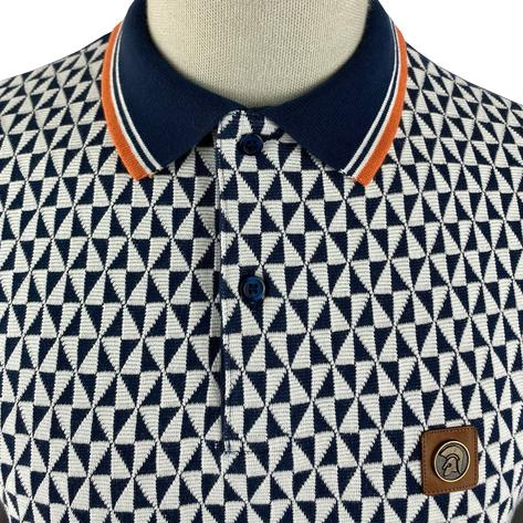 Trojan Records Diamond Panel Polo Navy Thumbnail 3