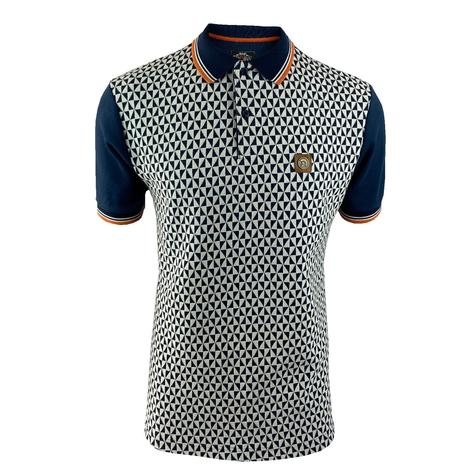 Trojan Records Diamond Panel Polo Navy Thumbnail 1