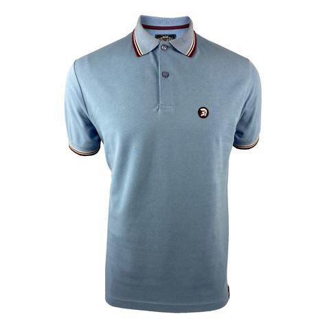 Trojan Records Mens Retro Tipped Collar Polo Shirt Sky