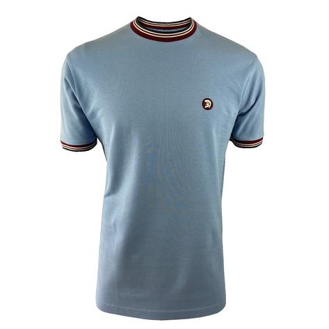 Trojan Records Mens Retro Multi Tipped Ringer T-Shirt Sky